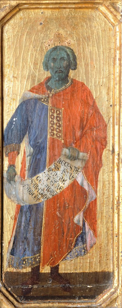 Solomon, detail from the predella of the Maesta' of Duccio Altarpiece in the Cathedral of Siena,, 1308-1311, by Duccio di Buoninsegna (ca 1255 - pre-1319), tempera on wood, 212x425 cm. : Stock Photo