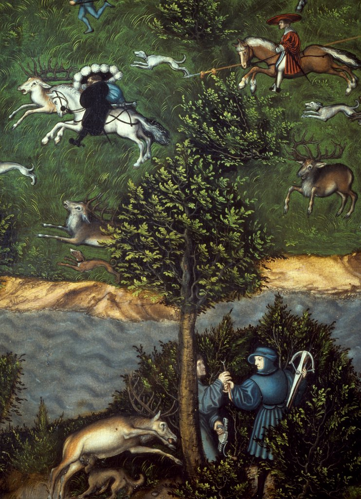 Stock Photo: 1788-46919 The Stag Hunt of the Elector Frederick the Wise, Lucas Cranach the Elder (1472-1553). Detail.