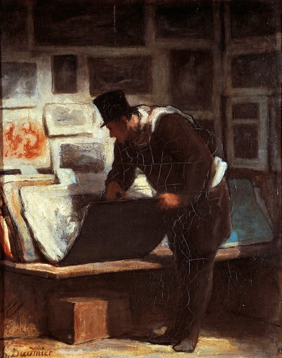 Stock Photo: 1788-46924 The print lover, by Honore Daumier (1808-1879).
