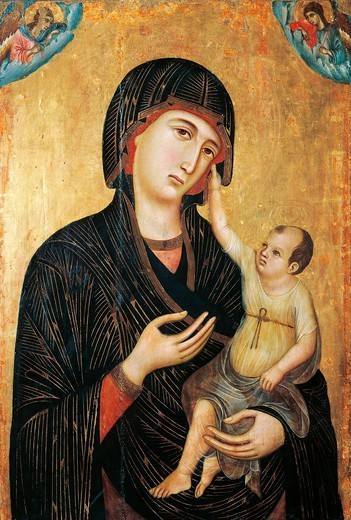 Stock Photo: 1788-46927 Crevole Madonna, 1283-1284, by Duccio di Buoninsegna (ca 1255 - pre-1319), tempera and gold on wood, 89x60 cm.