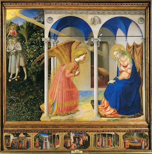 Altarpiece of the Annunciation or the Prado Altarpiece, 1430-1432, by Giovanni da Fiesole known as Fra Angelico (1400-ca 1455), tempera on wood, 194x194 cm. Detail. : Stock Photo