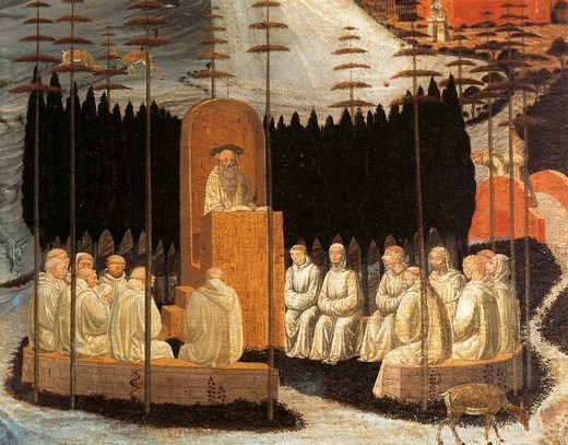 Stock Photo: 1788-46931 Stories of holy monks: the preaching of St Romuald, by Paolo Uccello (1397-1475), fresco. Upper gallery, Cloister of San Miniato al Monte.
