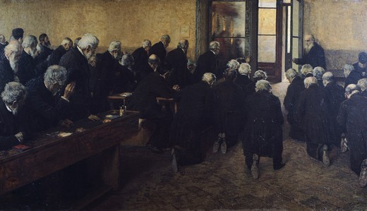 Viaticum, by Angelo Morbelli (1854-1919), oil on canvas, 112x200 cm. : Stock Photo