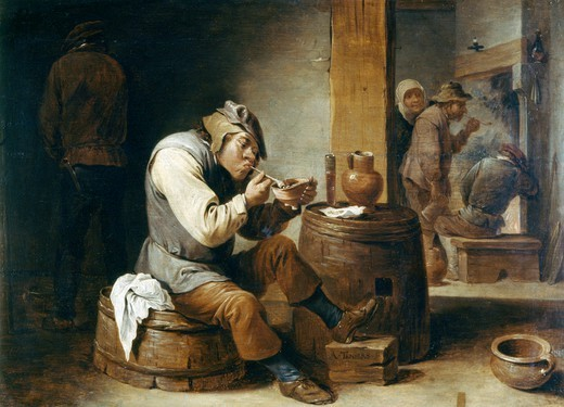 Stock Photo: 1788-46971 Smokers and drinkers, by Abraham Teniers (1629-1670).