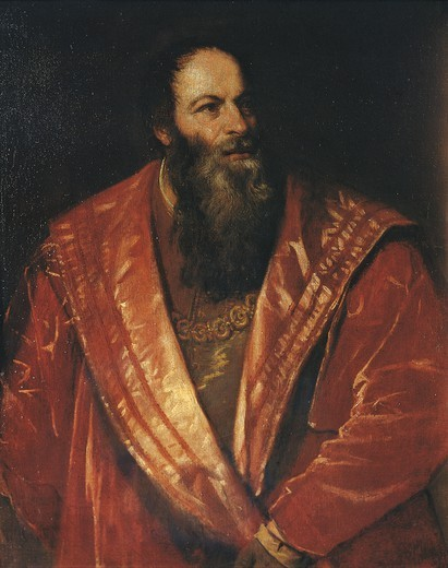 Stock Photo: 1788-46978 Portrait of Pietro Aretino, 1545, by Titian (ca 1490-1576), oil on canvas, 98x78 cm.