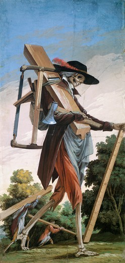 Cooper, from the Cycle of Scenes of Living Skeletons, by Paolo Vincenzo Bonomini (1757-1839), tempera on canvas. Church of Santa Grata Inter Vites, in Borgo Canale, Bergamo, Italy. : Stock Photo