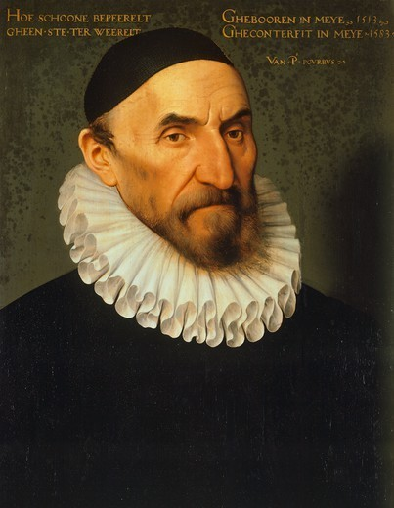 Portrait of Jan van der Gheenste, 1583, by Pieter Jansz Pourbus (1523 or 1524-1584), tempera on panel, 40x51 cm. : Stock Photo