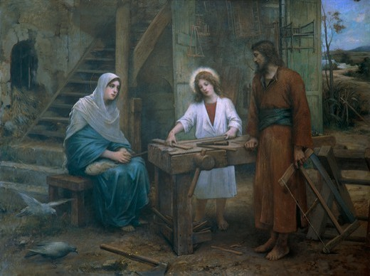 Jesus helping St Joseph in his workshop. Church of St Joseph, Nazareth, Israel. : Stock Photo