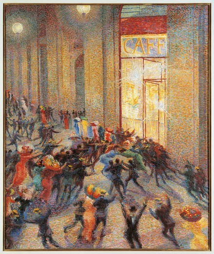 Brawl in the gallery, 1910, by Umberto Boccioni (1882-1916), oil on canvas, 76x64 cm. : Stock Photo