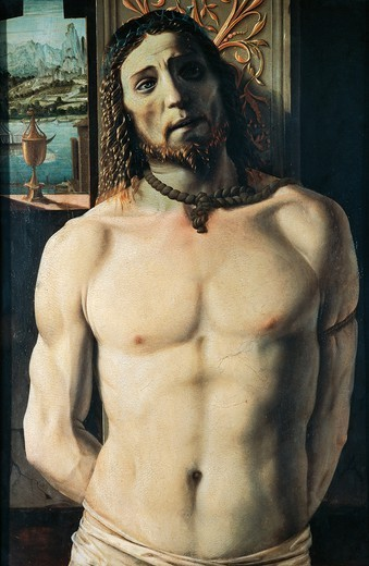 Christ at the Column, attributed to Donato Bramante (1444-1514), tempera and oil on panel, 93x62 cm. : Stock Photo