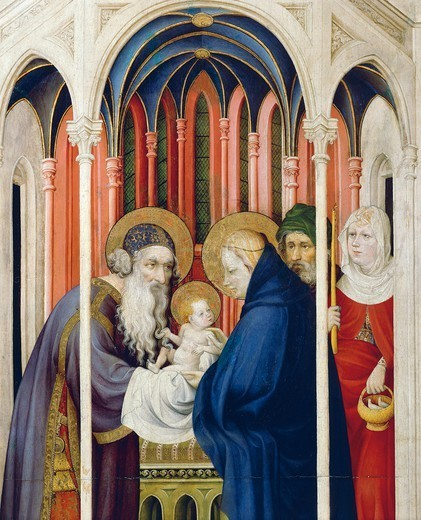 Stock Photo: 1788-47026 Circumcision of Jesus, right panel of the Champmol Altarpiece, 1393-1399, by Melchior Broederlam (ca 1355-1411), tempera on panel, 167x125 cm.