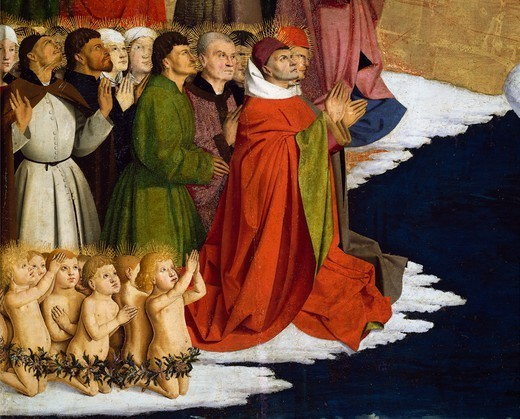 Baptizing men and children, detail from the Coronation of the Virgin Altarpiece, 1454, by Enguerrand Quarton (ca 1410-after 1466), tempera on panel, 183x220 cm. : Stock Photo