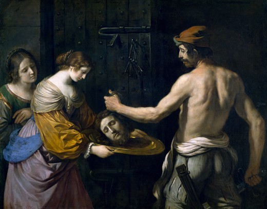 Stock Photo: 1788-47029 Salome receiving the head of St John the Baptist, 1637, by Guercino (1591-1666), oil on canvas, 139x175 cm.