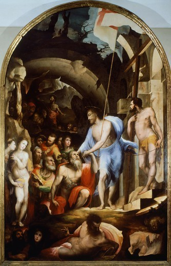 Descent of Christ into Limbo, 1530-1535, by Domenico Beccafumi (1486-1551), 395x255 cm. : Stock Photo