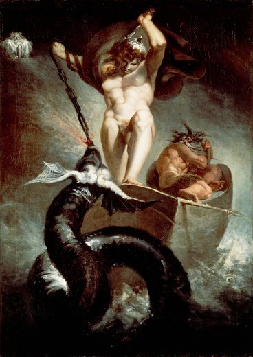 Thor fighting the Midgard snake, 1788, by Johann Heinrich Fussli (1741-1825), oil on canvas, 131x91 cm. : Stock Photo