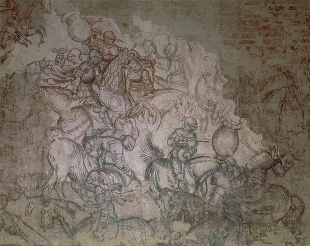 Tournament-Battle of Louvezerp, by Pisano known as Pisanello (pre-1395-ca 1455), ocher fresco. Detail. Palazzo Ducale, Mantua. : Stock Photo