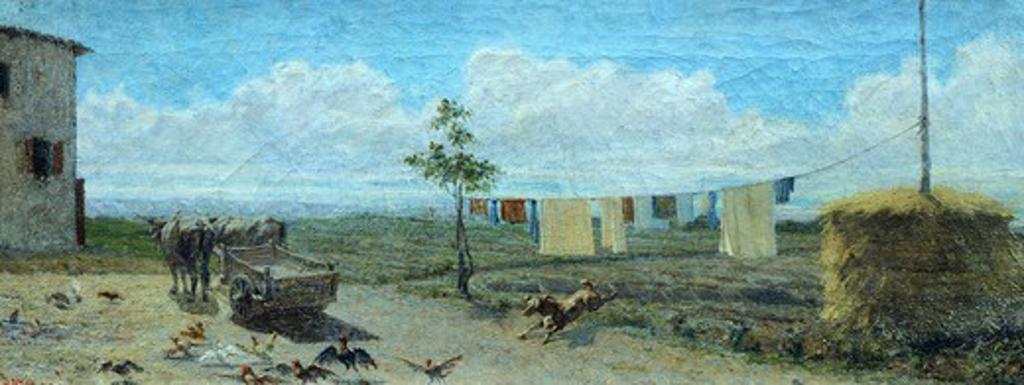 Farmyard, by Raffaello Sernesi (1838-1866). : Stock Photo