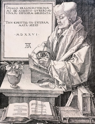 Stock Photo: 1788-47091 Erasmus of Rotterdam (Rotterdam 1466-1469 - Basel 1536), humanist and theologian, 1526, by Albrecht Durer (1471-1528), engraving.