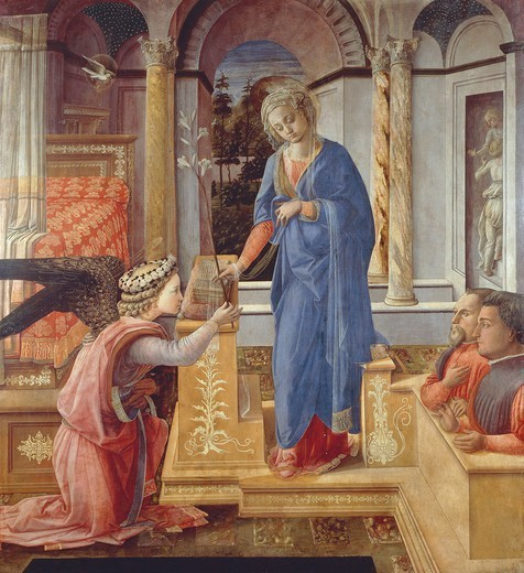 Stock Photo: 1788-47095 Annunciation with two kneeling donors or Annunciation of Palazzo Barberini, 1440-1445, by Filippo Lippi (ca 1406-1469), tempera on wood, 155x144 cm.
