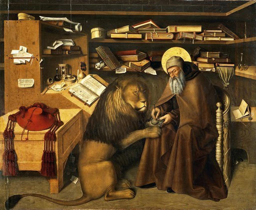 Stock Photo: 1788-47102 St Jerome in his study, ca 1445, by Niccolo Colantonio (ca 1420-1460), mixed media on canvas, 125x150 cm.