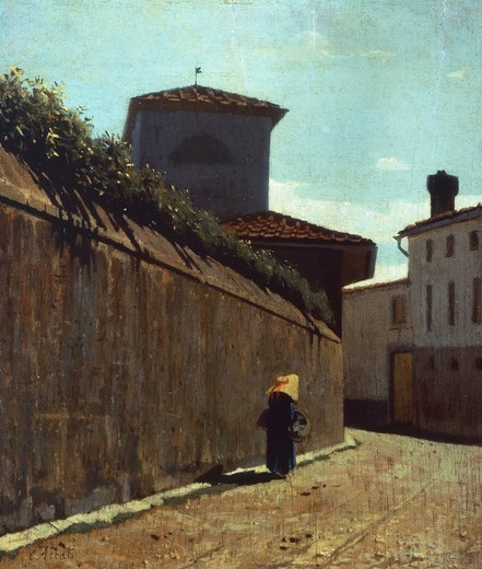 Street in the sun, 1863-1864, by Giuseppe Abbati (1836-1868), oil on panel, 26x23 cm. : Stock Photo