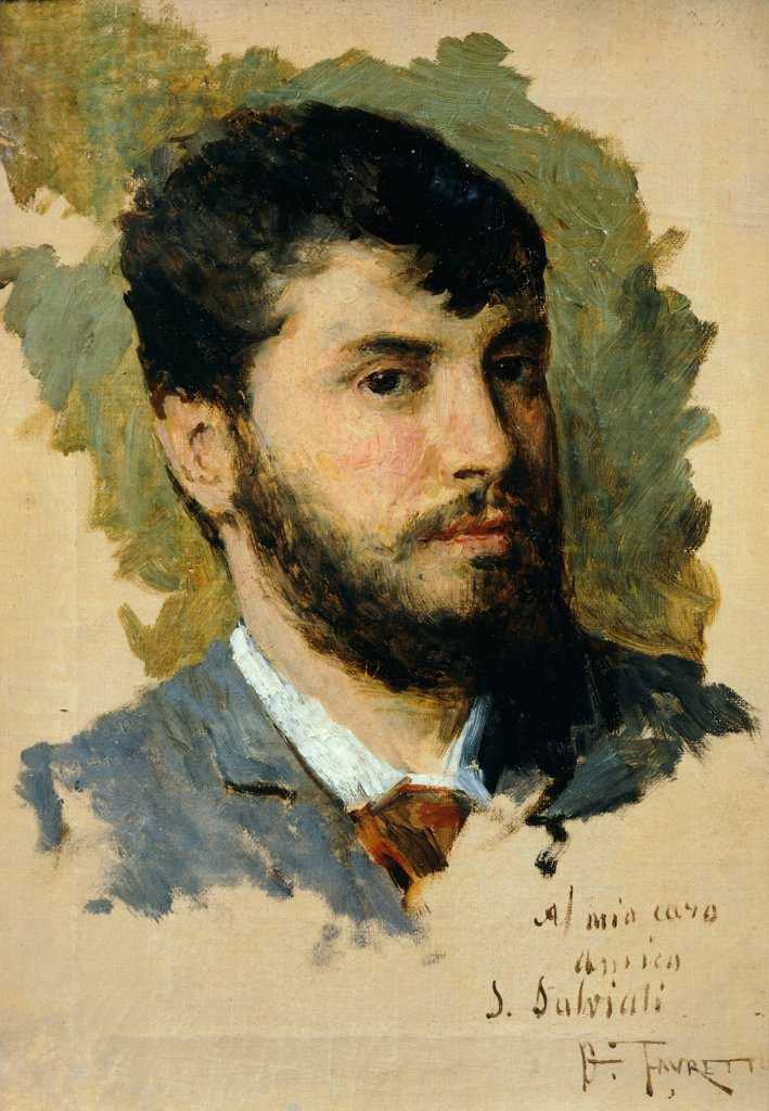 Stock Photo: 1788-47154 Self-Portrait, by Giacomo Favretto (1848-1887).