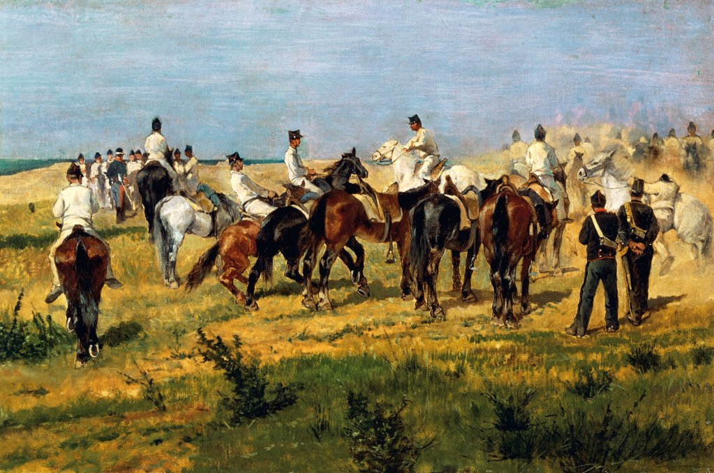 Exercise of recruits, 1885-1890, by Giovanni Fattori (1825-1908), oil on canvas, 37x60 cm. : Stock Photo