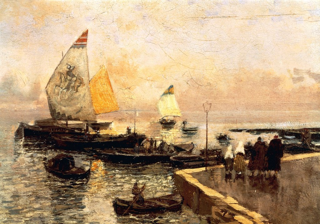 Coal Boats in Chioggia, by Mose Bianchi (1840-1904). : Stock Photo