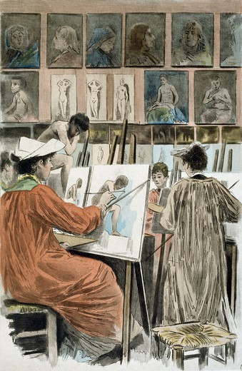 Stock Photo: 1788-47232 Painters' studio, 1894, a painting by Pierre Vidal (1849-1929), engraving by Frederic Masse, from La Femme a Paris, nos contemporaines, by Octave Uzanne (1851-1931).