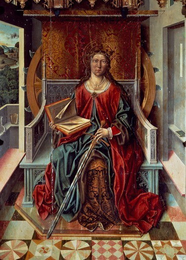 Triptych of St Catherine, middle panel, by Fernando Gallego (active 1468-1507), panel. : Stock Photo