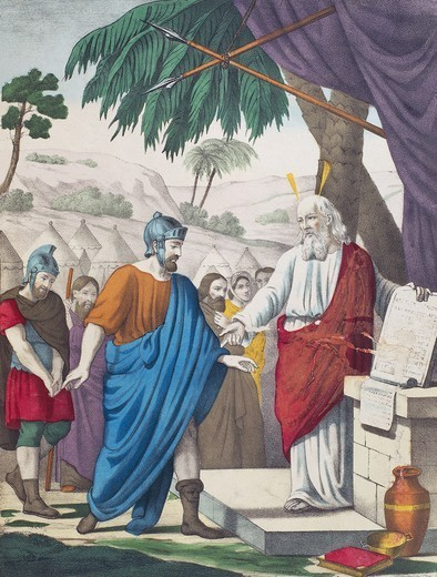 Stock Photo: 1788-47276 Moses entrusts Joshua to lead the Jewish people to the promised land, illustration from the Old Testament, the end of the 19th century, engraving by Bequet, Delagrave edition, Paris.