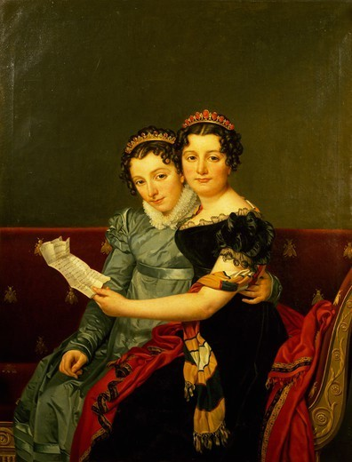 Zenaide and Carlotta, the daughters of King Joseph, by Jacques-Louis David (1748-1825). : Stock Photo