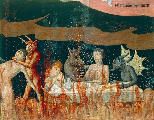 Demons and the damned in hell, detail from the Coronation of the Virgin Altarpiece, 1454, by Enguerrand Quarton (ca 1410-1466), tempera on panel, 183x220 cm. : Stock Photo