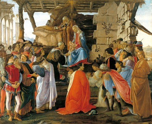 Adoration of the Magi, 1475, by Sandro Botticelli (1445-1510), tempera on wood, 111x134 cm. : Stock Photo