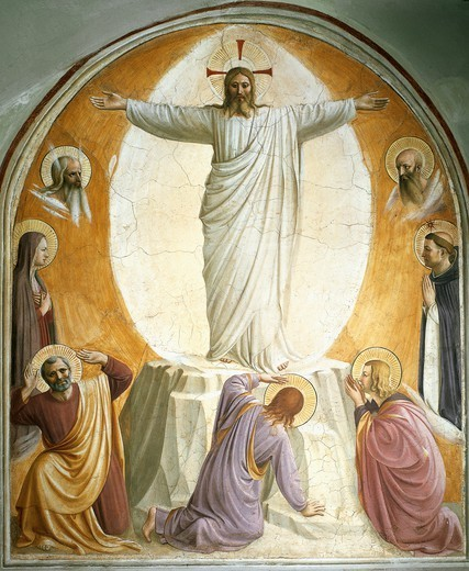 Transfiguration, 1438-1450, by Giovanni da Fiesole, known as Fra Angelico (ca 1400-1455), fresco. Detail. Convent of San Marco, Florence. : Stock Photo