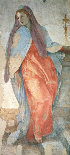 Stock Photo: 1788-47294 The Annunciation, by Jacopo da Pontormo (1494-1557). Detail.