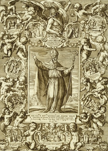 Stock Photo: 1788-47302 Carlo Bascape, Bishop of Novara, 1624, by Melchiorre Girardini (1607-1675) and Giovanni Paolo Bianchi (born ca 1590, active 1654), engraving, Italy.
