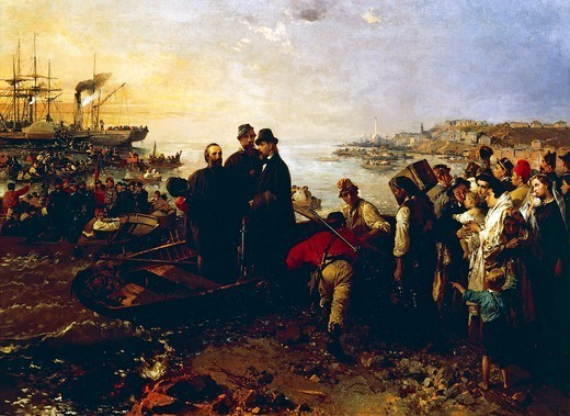 Stock Photo: 1788-47315 Boarding of the Thousand at Quarto, ca 1860, by Gerolamo Induno (1825-1890), oil on canvas, 110x150 cm.
