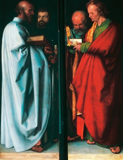 Stock Photo: 1788-47321 The Four Apostles, John the Evangelist, Peter, Paul and Mark, 1526, by Albrecht Durer (1471-1528), tables, from 215.5 to 214.5 cm x76.