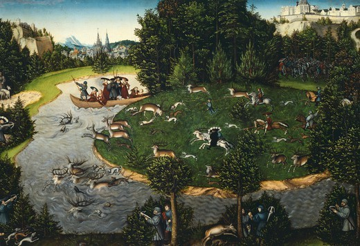 Stock Photo: 1788-47369 The Stag Hunt of the Elector Frederick the Wise, by Lucas Cranach the Elder (1472-1553).