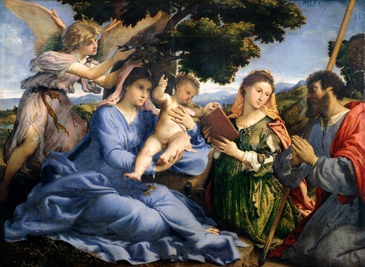 Stock Photo: 1788-47374 Madonna and Child between Saints Catherine of Alexandria and Thomas, ca 1528, by Lorenzo Lotto (1480 ca- 1556), oil on canvas, 113.5x152 cm.