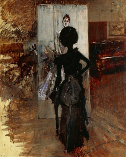 Stock Photo: 1788-47400 Lady in the studio of painter facing the White Pastel, 1888, by Giovanni Boldini (1842-1931).