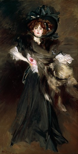 Stock Photo: 1788-47406 Portrait of Mademoiselle Lanthelme, 1907, by Giovanni Boldini (1842-1931), oil on canvas, 227x118 cm.