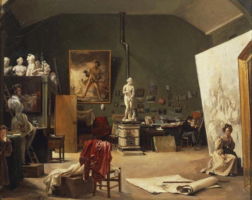 Inside Leon Cogniet's studio, 1831, by Marie-Amelie Cogniet (1798-1869). : Stock Photo