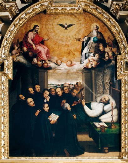 Stock Photo: 1788-47465 Death of St Ignatius of Loyola, late 16th century, by an unknown Swiss artist College of San Michele, Fribourg, Switzerland.