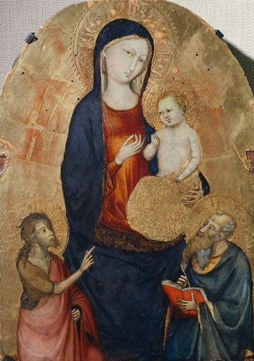 Stock Photo: 1788-47480 Madonna with Child and Saints John the Baptist and John the Evangelist, by Bicci di Lorenzo (1373-1452).
