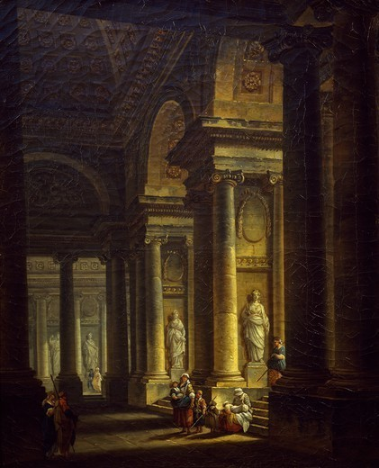 Stock Photo: 1788-47500 Interior of a church, 1771, by Pierre Antoine de Machy (1723-1807).