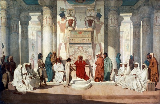 Stock Photo: 1788-47503 Joseph explaining Pharoah's dreams, by Jean Adrien Guignet (1816-1854), oil on canvas.