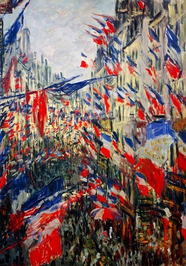 Stock Photo: 1788-47507 The Rue Saint-Denis (or Rue Montorgueil), the feast of June 30, 1878, 1878, by Claude Monet (1840-1926), oil on canvas, 74x102 cm.
