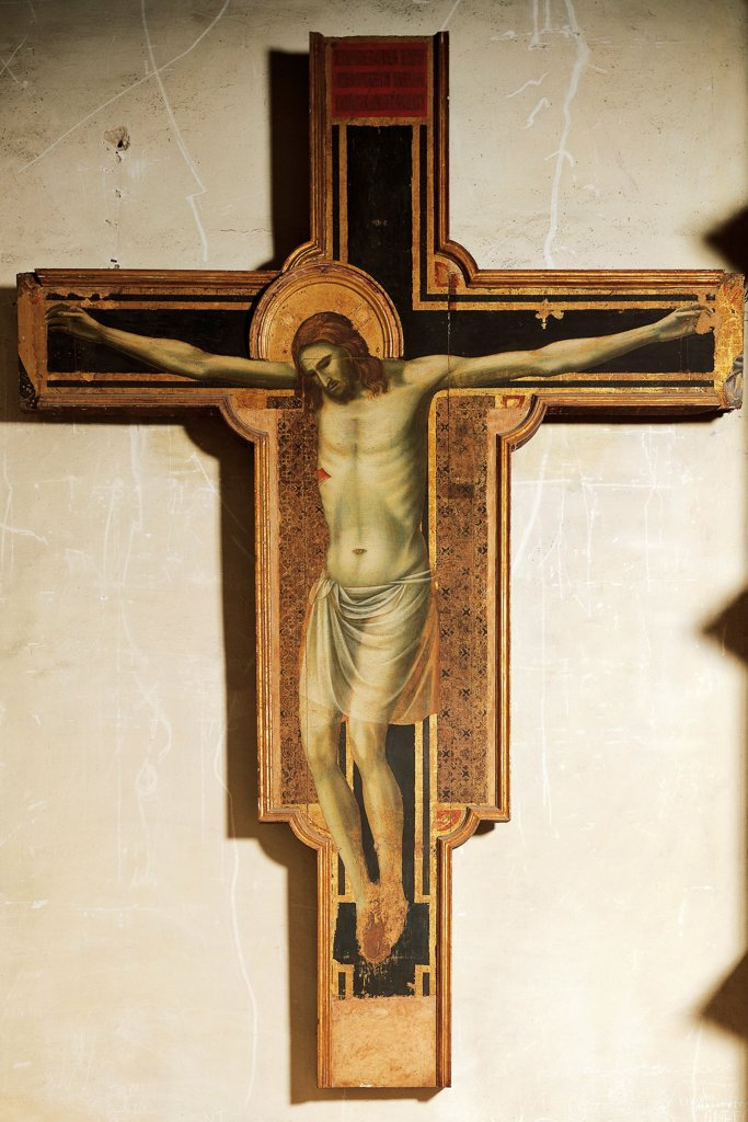 Crucifix, attributed to Giotto (1267-1337), tempera on wood. Malatesta Temple, the Chapel of Isolde, Rimini. : Stock Photo
